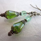 Green Drop Glass Bead and Cathedral Bead Antique Style Bronze Tone Earrings