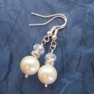 White Glass Pearl and Clear Faceted Crystals Chic Simple Silver Tone Earrings.