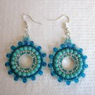 Handmade Turquoise Blue and Gold Kaleidoscope Silver Tone Earrings, Free US Ship