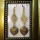 Purple Czech Victorian Heart Glass and Brass Filigree Charm Gold Tone Earrings