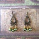 Handmade Moss Green Glass Pearl Antique Bronze Tear Drop Chandelier Earrings