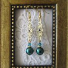 Peacock Blue Green Glass Pearl, Crystal & Filigree Connector Gold Tone Earrings