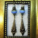 Handmade Turquoise Blue Faceted Czech Glass and Ornate Bronze Drop Earrings