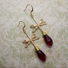 Handmade Deep Red Pointed Drop Glass and Filigree Dragonfly Charm Earrings