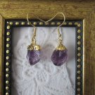 Naturally Shaped Gold Plated Purple Amethyst Gemstone Earrings, Free U.S. Ship!