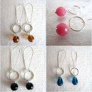 Handmade Hoop & Long Kidney Wire Silver Tone Earrings, Select Your Pair
