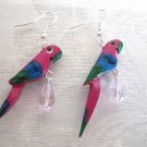 Handmade Wooden Pink Parrot Bird and Faceted Glass Drop Silver Tone Earrings