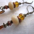 Ivory White Czech Rondelle Glass, Amber Crystal and Brown Drop Bronze Earrings