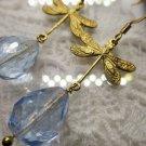 Handmade Light Blue Czech Glass Drop & Antique Gold Dragonfly Charm Earrings