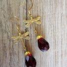 Handmade Deep Red Czech Glass Drop & Antique Gold Dragonfly Charm Earrings