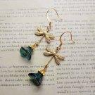 HandmadeDark Green Czech Glass Flower & Antique Gold Dragonfly Charm Earrings