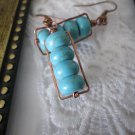 Handmade Puffy Blue Howlite Turquoise & Hand Hammered Frame Copper Earrings