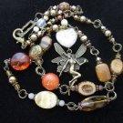 New! Bronze Tone Pixie / Fairy Jewelled Pendant Necklace, Czech Glass, Tiger Eye