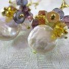 Handmade White Coin Pearl & Amethyst Purple Bubble Long Hoop Chandelier Earrings