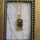 New! Egyptian Blue Scarab Beetle Symbol Ball Chain Gold Tone Pendant, Free Ship!