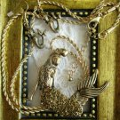 NWT Gold Tone Plated Ladies Mermaid Pendant Necklace and Earring Jewelry Set