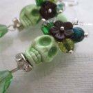 Day of the Dead Halloween Sugar Skull Earrings, Head Dress & Green Teardrop Bead