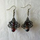 Antique Bronze Tone Lace Filigree Flower and Picasso Red Glass Bead Earrings