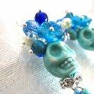 Day of the Dead Halloween Sugar Skull Earrings, Head Dress & Blue Teardrop Bead
