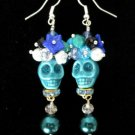 Day of the Dead Halloween Sugar Skull Earrings, Head Dress & Blue Glass Pearls