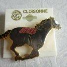NWT Vintage Cloisonne Enameled Greyish Purple Horse Fashion Pin Brooch Free Ship