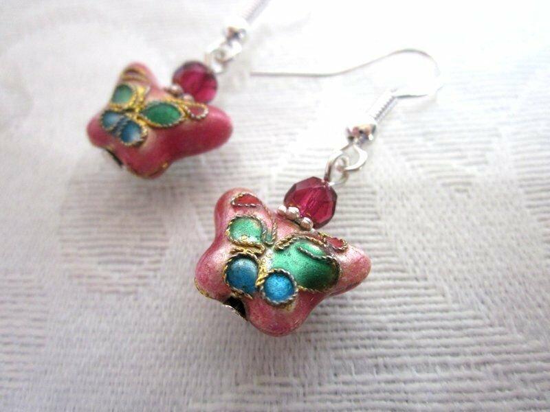 Pink Butterfly Cloisonne Bead & Czech Glass Silver Tone Earrings, Free US Ship!