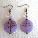 Flat Round Czech Picasso Glass Earrings, Purple Dragonfly or Blue Seahorse