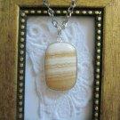 Honey White Striped Rectangle Ocean Jasper Silver Tone Framed Pendant Necklace