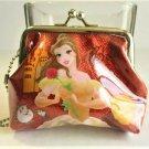 Disney Princess BELLE Beauty Beast Sparkling Red Coin Purse Gamaguchi Wallet