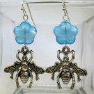 Handmade Silver Tone Bumble Bee Charm French Hook Wire Earrings, Free US Ship!