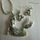 NWT Silver Tone Plated Ladies Mermaid Pendant Necklace and Earring Jewelry Set