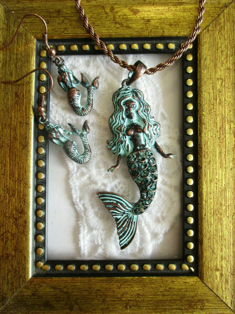NWT Patinated Copper Ladies Mermaid Pendant Necklace and Earring Jewelry Set
