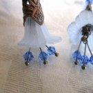 Handmade Long Filigree Bronze Cone Blue Bell Flower & Crystal Earrings