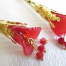 Handmade Long Filigree Gold Tone Cone Red  Lily Flower & Crystal Earrings