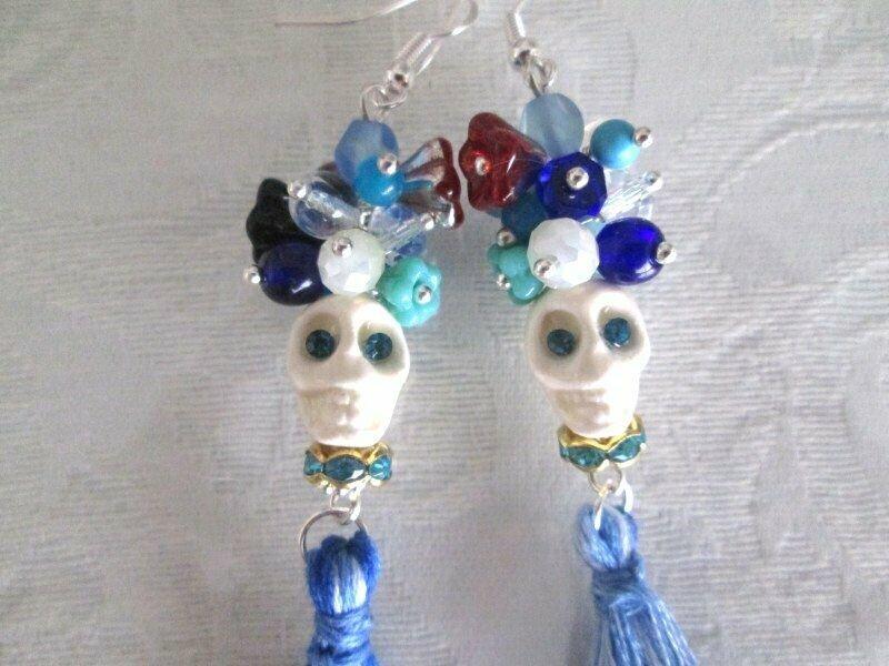 Day of the Dead Halloween White Ceramic Sugar Skull Earrings, Blue Tassels