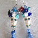 Day of the Dead Halloween White Ceramic Sugar Skull Earrings, Blue Tassels