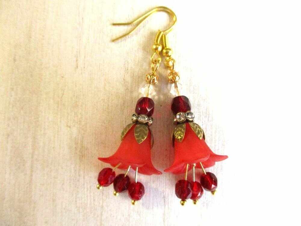 Handmade Red Bell Flower and Czech Fire Polished Glass Gold Tone Earrings