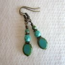 Handmade Czech Picasso Turquoise Blue Glass Bead Antique Bronze Tone Earrings