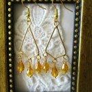 Handmade Amber Czech Glass Teardrop Gold Tone Wire Frame Chandelier Earrings
