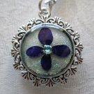 Handmade Purple Hydrangea Flower Petal on Sparke Blue Silver Frame Chain Pendant