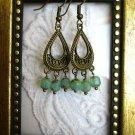 Handmade Sea Foam Green Czech Glass Bronze Tone Tear Drop Chandelier Earrings