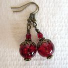 Handmade Deep Red Round Glass Bead and Red Czech Antique Bronze Tone Earrings
