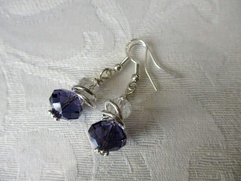Handmade Purple and Clear Faceted Glass Crystal and Silver Ring Earrings