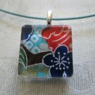 Authentic Japanese Washi Blue Flower Abstract Glass Tile Choker Pendant Necklace