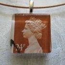 Brown Queen Elizabeth Stamped Postage Stamp Glass Tile Choker Pendant Necklace