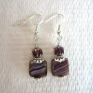 Handmade Marbled Purple Square Czech Glass & Cathedral Bead Silver Tone earrings