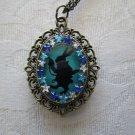 Handmade Alice's White Rabbit's Black Silhouette on Bronze Tone Pendant Necklace