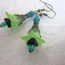 Light Green Bell Flower & Black Czch Flower Antique Bronze Tone Earrings