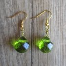 Handmade Wire Wrapped India Glass Briolette Drop Earrings, Gold Tone French Hook