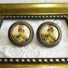 New Victorian Woman / Lady / Girl in Flower Antique Bronze Tone Round Earrings